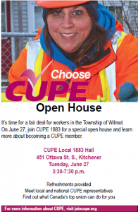 CUPE Local 1883 Open House @ CUPE Local 1883 Hall   Kitchener   Ontario   Canada